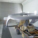 Teile Lackierung für eine Formula 40 PC Motoryacht mit Effecktlack in der Lackierkabine der Bootswerft Baumgart in Dortmund