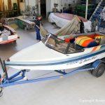 Malibu Skier Euro f3 Motorboot vor dem Refit in der Werfthalle der Bootswerft Baumgart in Dortmund