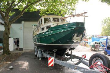 St. Jozef Vlet Motoryacht nach durchgeführtem Refit auf dem Werftgelände der Bootswerft Baumgart in Dortmund