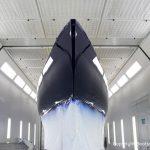 Comfortina 38 in derLackierkabine der Bootswerft Baumgart in Dortmund