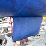 Kiel der LM 28 Segelyacht vor der Reparatur auf dem Werftgelände der Bootswerft Baumgart in Dortmund