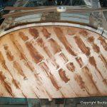 Heckspiegel der Riva Ariston bei der Restauration in der Werfthalle der Bootswerft Baumgart in Dortmund