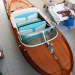 Riva Ariston von oben nach durchgeführter Restauration in der Werfthalle der Bootswerft Baumgart in Dortmund