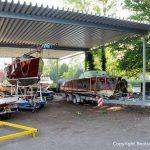 Ankunft der Riva Super Aquarama auf dem Werftgelände der Bootswerft Baumgart in Dortmund
